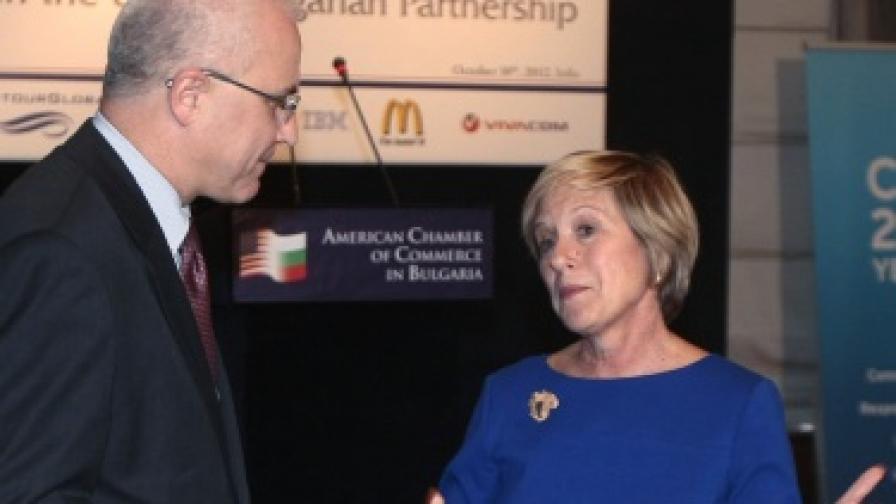 """Посланикът на САЩ в България Марси Рийс говори пред членовете на Американската търговска камара на тема: """"Ролята на бизнеса в партньорството между САЩ и България"""""""