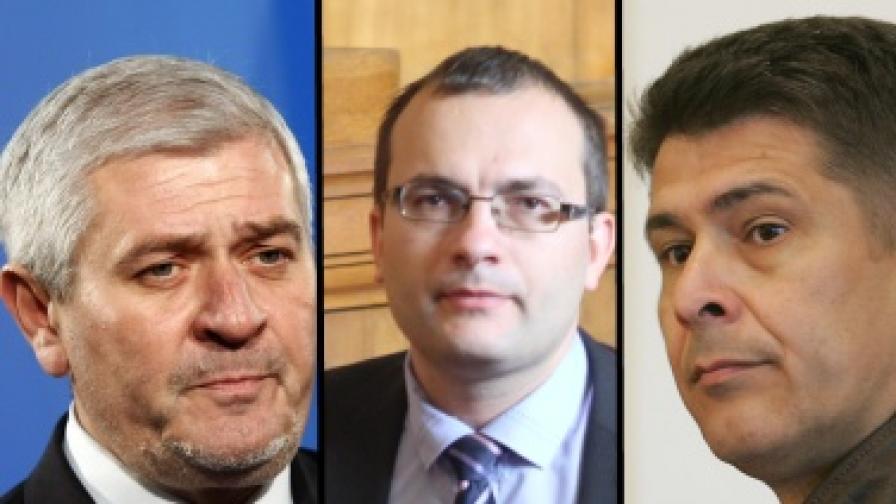 Изключените от СДС народни представители Ваньо Шарков,  Мартин Димитров и Димо Гяуров