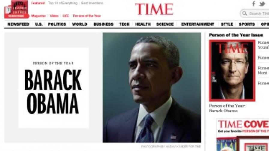 """Барак Обама е """"Личността на годината"""" на списание """"Тайм"""""""