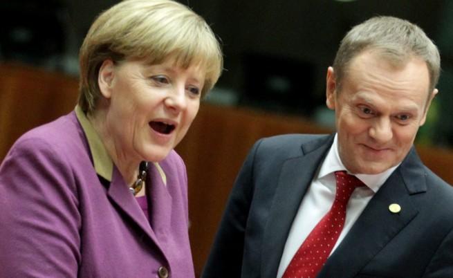 Канцлерът на Германия Ангела Мерел и министър-председателят на Полша Доналд Туск