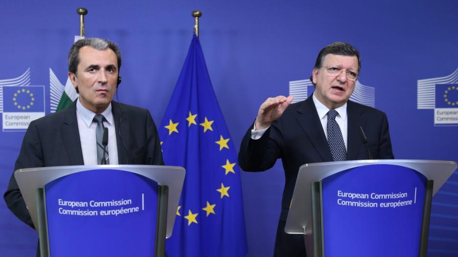 Председателят на Европейската комисия Жозе Мануел Барозу се срещна с българския премиер Пламен Орешарски
