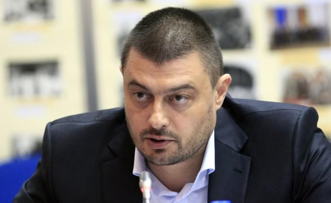 Партията на Бареков – в синьо и жълто, с розета за символ